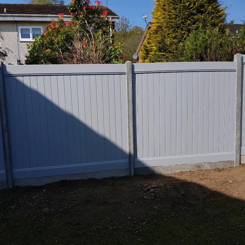 Light Grey Pvc 6ft X 6ft Fence Panels Brand New In