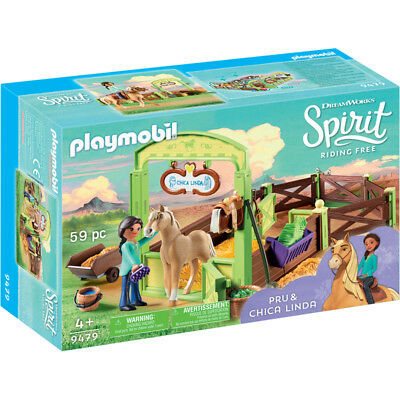 Playmobil Dreamworks Spirit Riding Free: Pru & Chica Linda with Horse Stall NEW