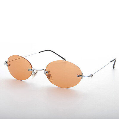 Orange Rimless Oval Colored Lens 90s Vintage Sunglasses - Piper