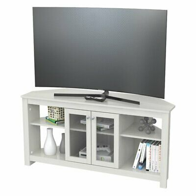 Inval Corner TV Stand with Glass Doors in Washed Oak