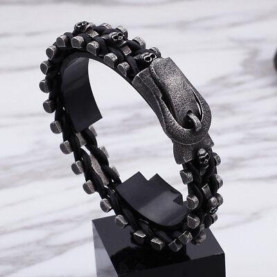 Black Leather Stainless steel Skull Belt buckle design Chain bracelet 16mm 8.8''