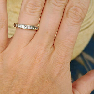 14K White Gold Channel Band with 10 Princess Cut Diamonds