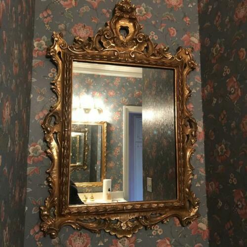 """20thC Italian Rococo Giltwood 47"""" x 32"""" Highly Ornate Hand-Carved Mirror"""