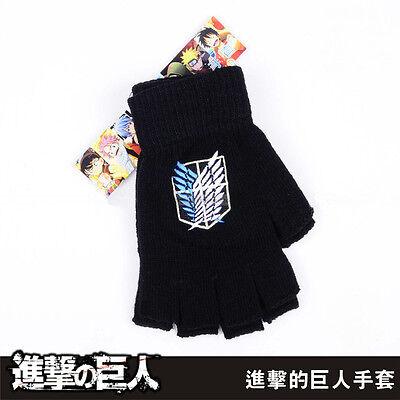 Anime Attack On Titan Half Finger Plush Knit Gloves Winter Cosplay Gift Mitten
