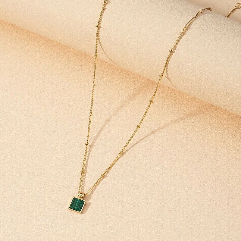 14k Gold On Chain With Turquoise Pendant Necklace For Women - $0.01