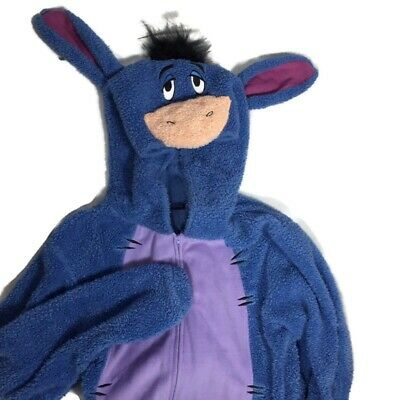 Disney Adult Eeyore Plush Costume Suit One Piece Warm Pajama Costume Large