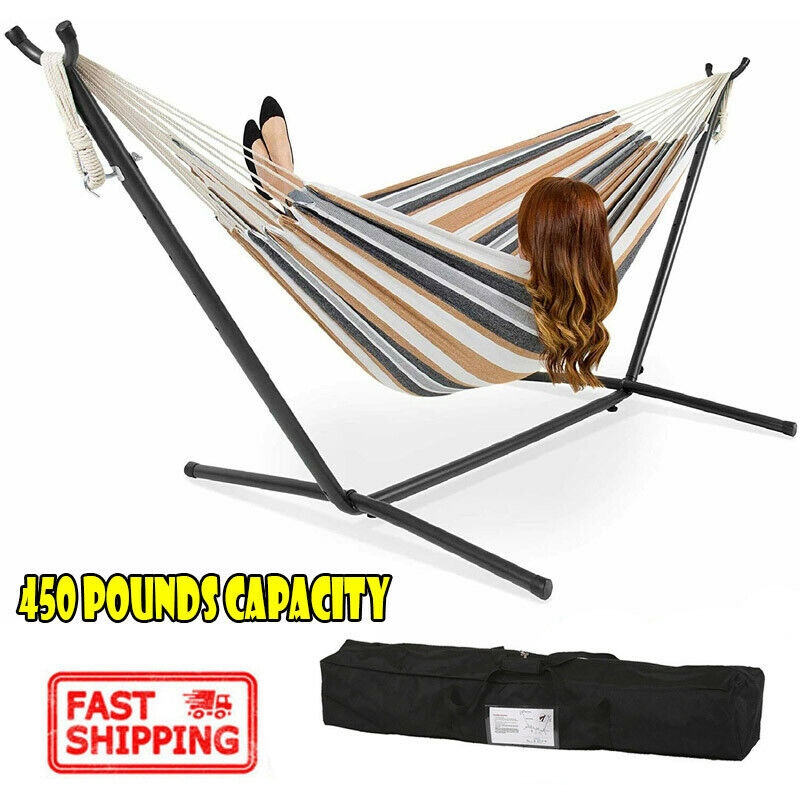 2 Person Hammock Stand With Space Saving Steel Stand Include