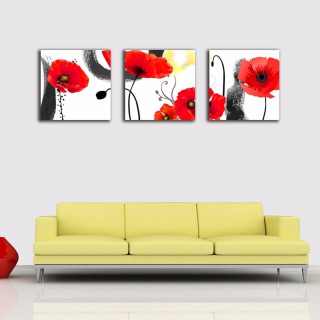 3 Panels 30×30×3cm Oriental Flowers Canvas Prints Framed Wall Art Decor Painting