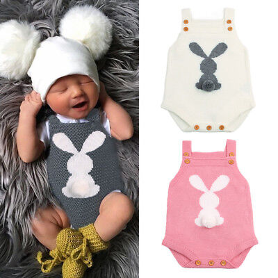 UK Newborn Baby Boys Girls Bunny Knitting Wool Romper Bodysuit Outfit Set hgtret