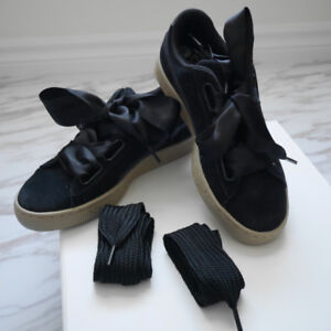 PUMA Women Black Suede Sneaker Ribbon Lace Shoes Size 6.5. New