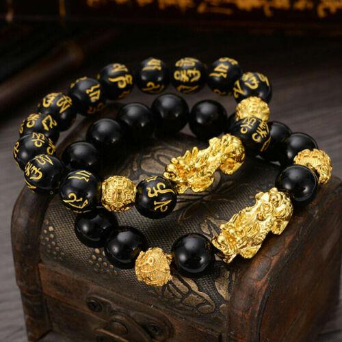 2x Feng Shui Black Obsidian Beads Bracelet Attract Wealth Good Luck Bangle PIXIU