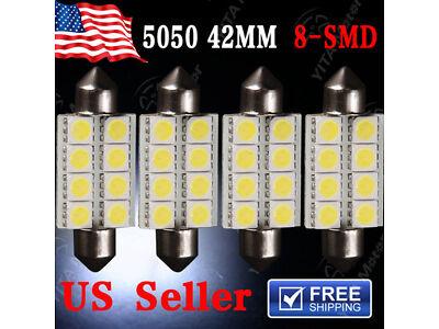 4X 6000K White 42MM 5050 8SMD Festoon Dome Map Interior LED Light bulb 212-2 569