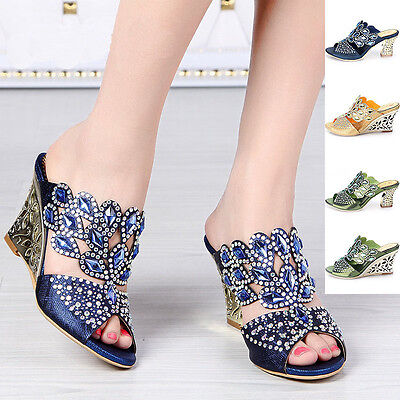 Women Peacock Thick High Heel Crystal Wedding Bride Evening Party Sandal Shoes Crystal High Heel