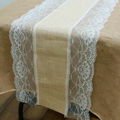 6 PC Natural Burlap With Lace Table Runner 14x108