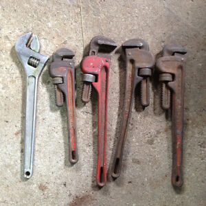 assorted pipe wrenches/adjustables
