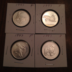 4 1997 Silver 50 Cent coins (Dogs)