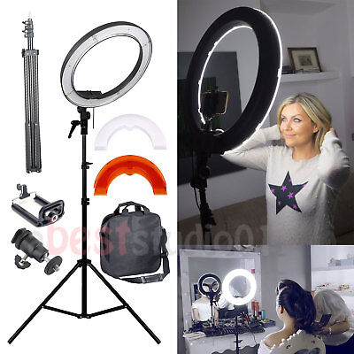 """35W 240PCS 12"""" Dimmable Photo Video LED Ring Light Kit Stand Smartphone Adapter"""