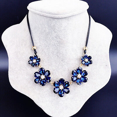 Woman Crystal Vintage Blue Flower Bohemian Necklace Sweater Chain Inflated - Inflatable Flowers