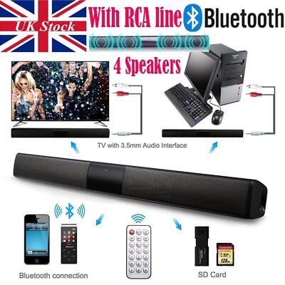 Bluetooth Wireless TV Soundbar 4 Speaker 3D Sound Bar Home Theater Subwoofer RCA
