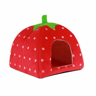 Strawberry Style Cute Soft Sponge Puppy Cat Dog Pet Bed Dome Tent Warm Cushion