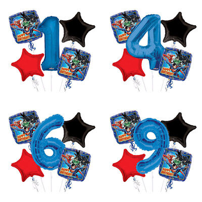 Justice League Happy Birthday Balloon Bouquet 1-9 Birthday 5 pcs - Party Supplie