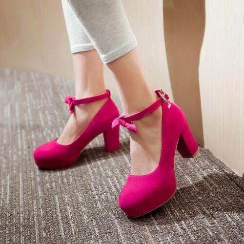 Women Mary Janes Lolita Ankle Strap Block Sweet Mid Heels