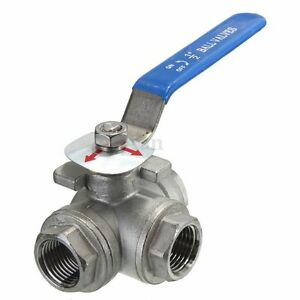 DN15 G1/2'' Female 3-Way L-Port 304 Stainless Steel Ball Valve Water Oil HOT