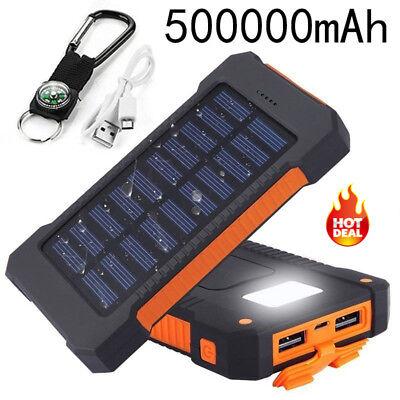 High Capacity Solar Power Bank 500000mAh 2 USB Charger Travel External Battery