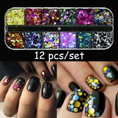 12 Pcs Nail Sequins Glitter Ultrathin Confetti Flakes Manicure 3D Art Decoration, used for sale  China