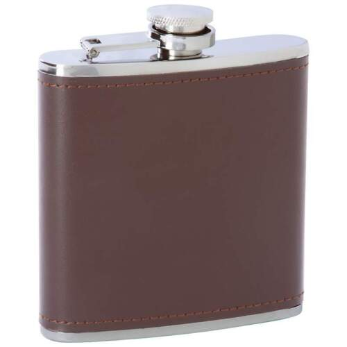 FLASK 6oz Brown Solid Leather Stainless Steel Attached Screw Cap Hip Pocket Bar