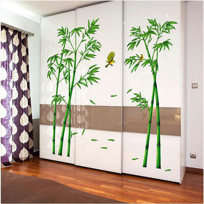2 pcs Green Bamboo Forest Wall Stickers Decorative Mural Art for Living Room  - Bamboo Wall Murals