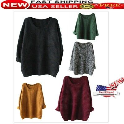 Womens Jumpers Cable Knitted Off Shoulder Baggy Sweater Tops