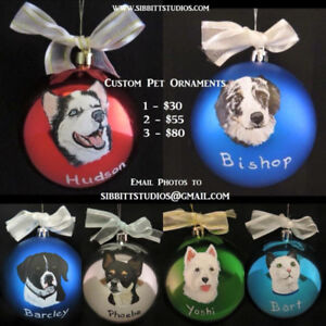** Hand Painted Ornaments of your Pet! **