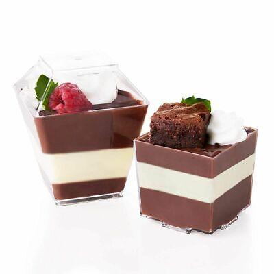 Square Plastic Cups (24 Pack Disposable Plastic Square Appetizer Dessert Cups w/Lids for Party,)