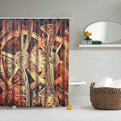Gear Steampunk Shower Curtain 10 Hooks Waterproof Polyester Bathroom Decor USD1375