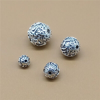 - 5 Sterling Silver Om mani padme hum Round Beads 925 Silver for Yoga Meditation