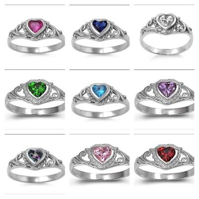 (.925 Sterling Silver 4MM PRETTY BABY RINGS HEART DESIGN CZ STONES SIZES 1-5)