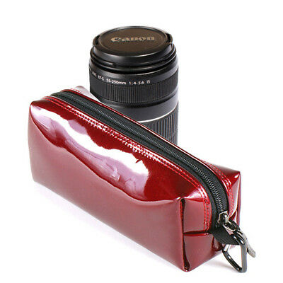 Burnoaa Memory Foam Lens Pouch Bag Red for Canon EF-S 18-55mm IS 55-250mm Zoom