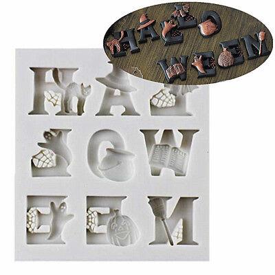 3D Halloween Letters Alphabet & Bat Ghost Silicone Mold Fondant Cake Decor Tools