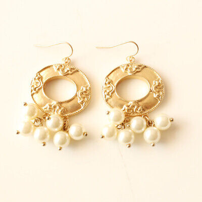 New Chicos Floral Faux Pearl Drop Earrings Best Gift Fashion Women Party