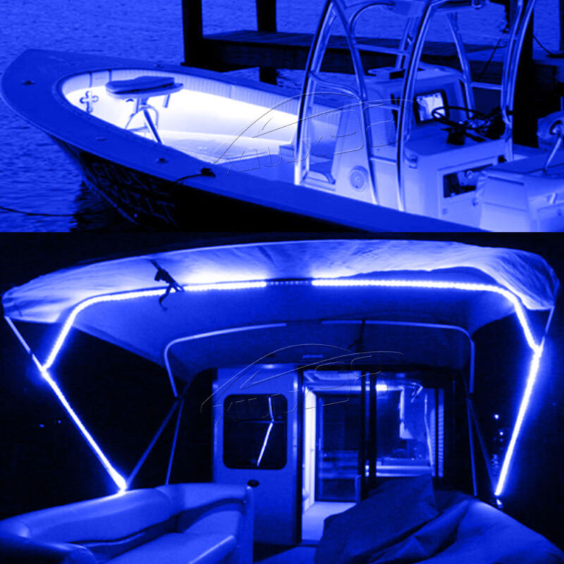 16.4ft Waterproof LED Marine Boat Yacht Deck Bow Pontoon Navigation Light Blue