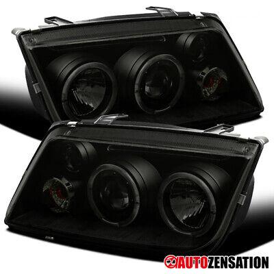 For 1999-2005 VW Jetta Bora Mk4 Black Smoke Dual LED Halo Projector -