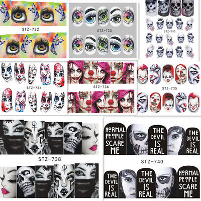 2Sheets Halloween Nail Art Water Decals Transfer Stickers  Decoration - Halloween Decoration Art