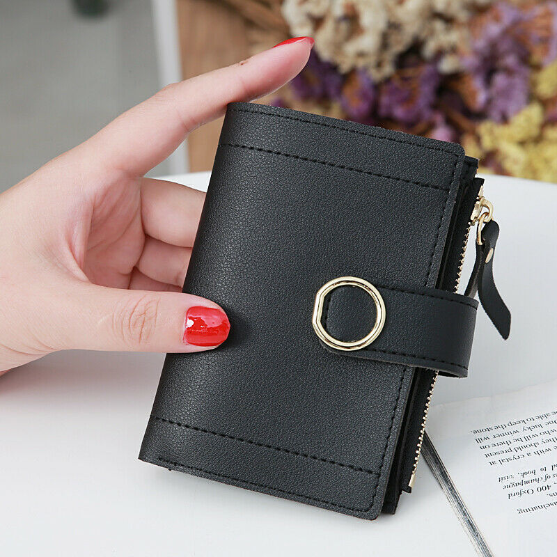 Women Mini Wallets Bifold Leather Small Card Holder Pocket Ladies Short Purse US Clothing, Shoes & Accessories