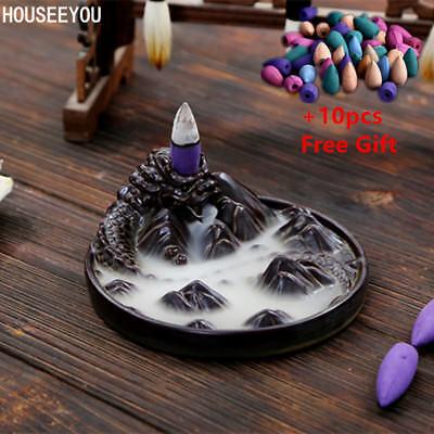 (Ceramic Black Dragon Backflow Waterfall Incense Burner Coil Holder + 10pcs Cones)