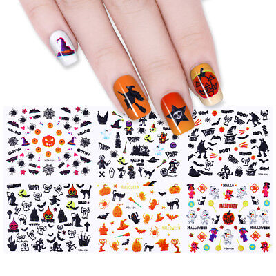 24Sheets Halloween 3D Nail Art Stickers  Adhesive Transfer Decals Decoration DIY](Diy Halloween Nails)