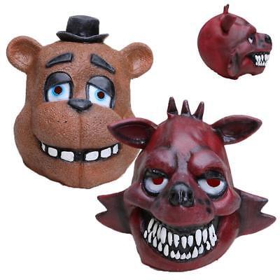 Halloween Latex FNAF Foxy Chica Freddy Fazbear Bear Costume Adult Full Face  - Freddy Fazbear Costume Halloween