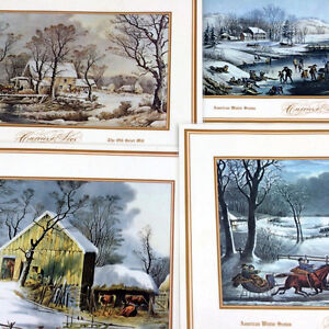 Currier & Ives Place Mats Vintage American Winter Scenes Series