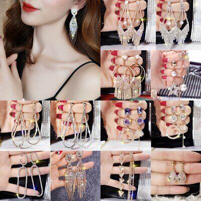 Fashion Crystal Korean Shiny Earrings Tassel Ear Stud Dangle Hook Women Jewelry ()