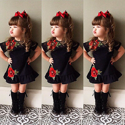 US Toddler Kids Baby Girls Flower Summer Party Dress Sundress Clothes 0-4T Mon